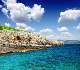 Amazing sea bay blue background