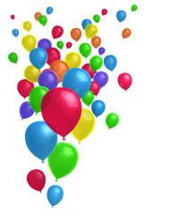 Fliegende bunte Luftballons Hochformat