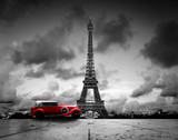 Fototapety Effel Tower, Paris, France and retro red car. Black and white