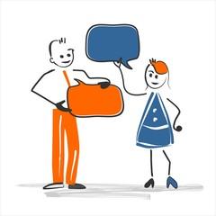 Gespräch mit Textblasen - Zeichnung - Mann Frau