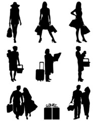 Black silhouettes of shopping, vector