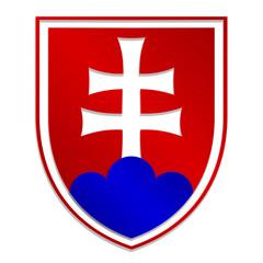 simply isolated illustration of metallic Slovak emblem