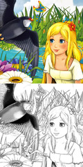 Cartoon fairy tale scene - coloring illustration