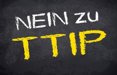 Kreidetafel mit Nein zu TTIP