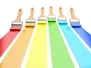 Multi colored paintbrushes isolated on a white