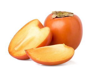 Cut persimmon on a white background