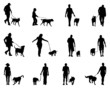 Black silhouettes  of people and dogs, vector