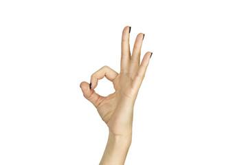 female hand making ok sign isolated over white
