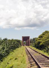Iron bridge in railroad