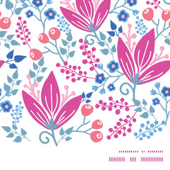 Vector pink flowers horizontal frame seamless pattern background