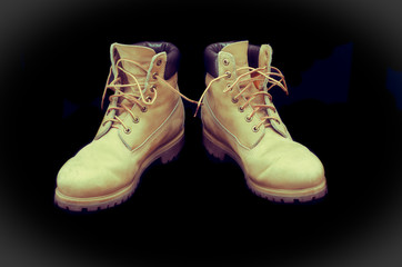 Authentic pair of 8 inch Yellow Work Boots - vintage processes