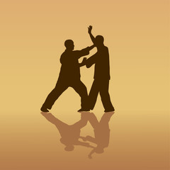 Two men are engaged in the Kung  fu on a yellow background.