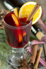 Mulled wine close up.
