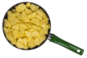 potato slices in a skillet