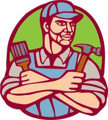 Builder Carpenter Paintbrush Hammer Linocut