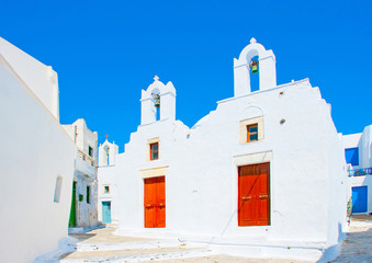 twin churches in Chora the capital of Amorgos island in Greece