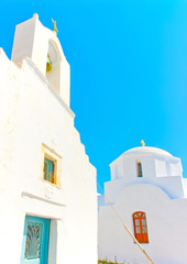 white churches in Chora the capital of Amorgos island in Greece
