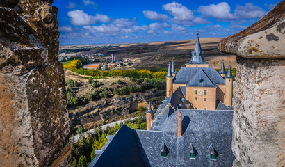 View of Segovia,Spain from high atop the rooftop at Alcazar.