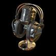 Mikrofon mit Kopfhörer schwarz