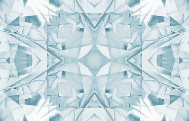 Square digital geometric 3d kaleidoscope pattern