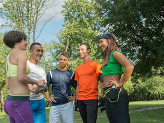 Group of athlete talking after exercise