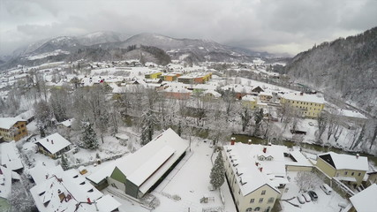 Camera flying over Kamnik, town in Slovenia.