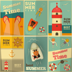 Summer Holidays posters set