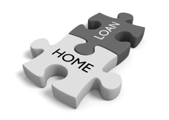 House financing concept of puzzle pieces that say home loan
