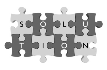 Puzzle parts connected with letters spelling the word solution