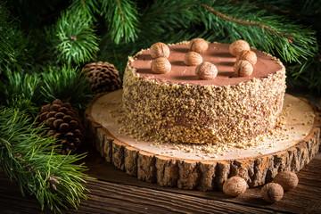Walnut cake served in forest