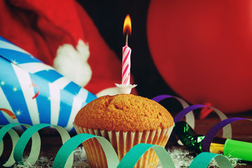 Cupcake with holiday decorations close up