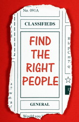 Find The Right People Classified Newspaper Clipping