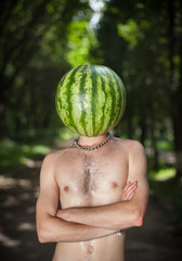 boy with a watermelon instead of head
