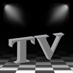 3D text in the background of a chessboard