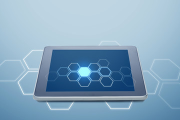 tablet pc computer with cell pattern on screen
