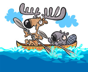 Cartoon Moose and Beaver friendly characters on canoe.