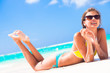 long haired girl in bikini on tropical barbados beach