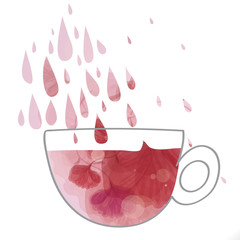 Love drink / Silhouette of cup with rose tea