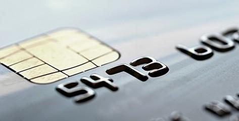 Chip of the gray credit card, closeup shot.