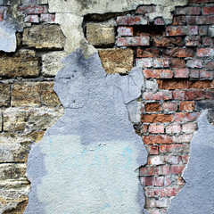 Grunge background with brick old wall and plaster