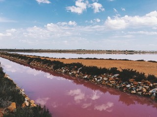 Unbelievable landscape of Torrevieja - the lake with pink water