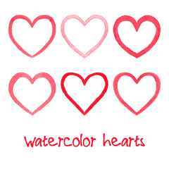 Watercolor hearts set.