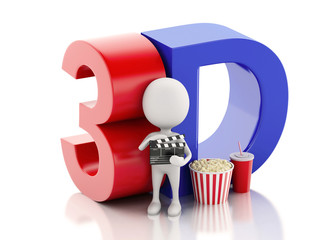 white man with cinema clapper, popcorn, drink and 3d glasses