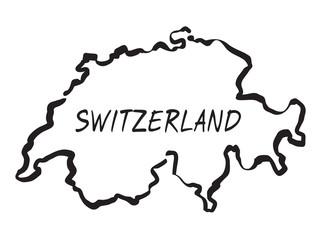 Vector drawing map of Switzerland
