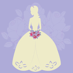 Illustration of a beautiful bride holding a bouquet. EPS 10