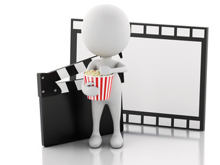 3d white man with cinema clapper, popcorn and film reel.