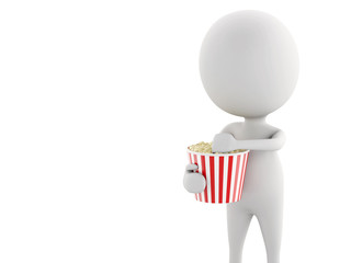 3d white man with popcorn isolated white background