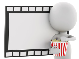 3d white man with popcorn and film reel.