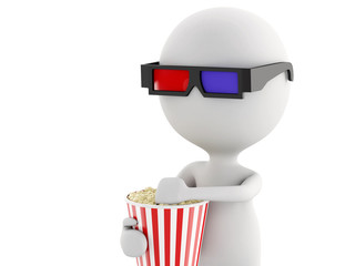 3d white man with 3d glasses and popcorn, isolated white backgro
