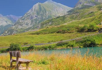 bench facing the mountains